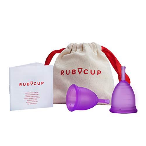 Ruby Cup -Menstruationstasse 2er-Pack (SMALL + MEDIUM leichte/starke Tage, niedriger/hoher Gebärmutterhals) – inkl Spende! Weiche und ergonomische - Ideal für Anfänger -LILA