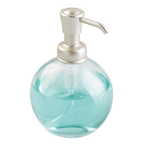 mDesign Dispenser Sapone Ricaricabile – Elegante Portasapone in Vetro – capacità 355 ml – trasparente