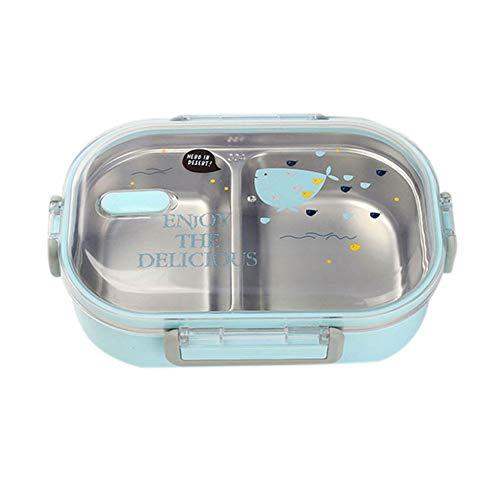 Milopon Lunchbox brotzeitbox edelstahl Edelstahl Brotdose Frühstücksbox Versiegelte Bento Box Proviantdose Frischhaltedose für Schule Picknick Camping (Blau)
