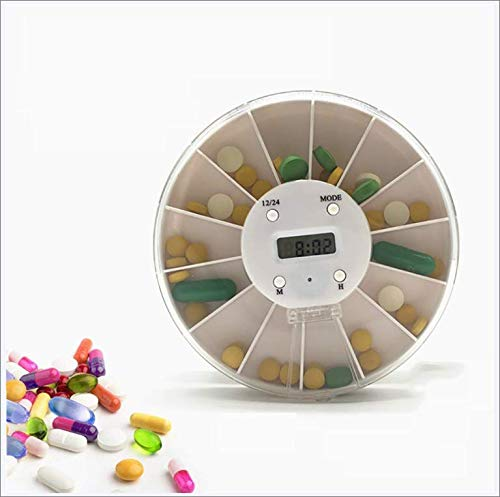 JayQm Automatic Pill Dispenser, Digital Timer Pillbox, Round 7-Day Tablet, 5 Alarms, Used by Elderly And Alzheimer's Patients, White,7