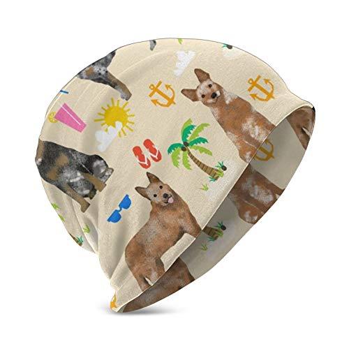 Gorro de punto para nios de 3 a 15 aos con diseo de perro de ganado australiano, color azul y rojo y crema de playa, suave, clido, elstico, para nios y nias