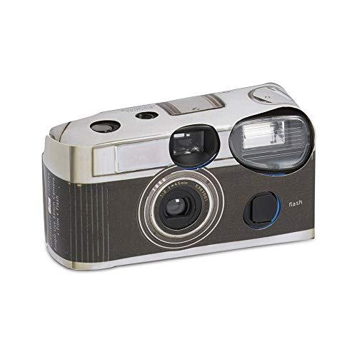 Paquete de 10 cámaras desechables con flash, diseño vintage y de color negro