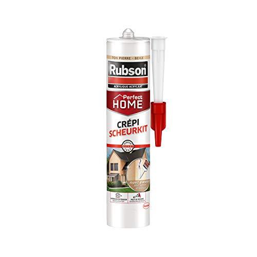 Rubson Mastic Perfect Home Crépi, mastic acrylique pour joint, raccordement et rebouchage de fissures sur supports recouverts de crépi, aspect granuleux, coloris ton pierre/beige, 280 ml