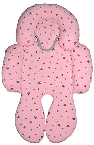 BEYBI® Riduttore per bebè in jersey di cotone, universale, per ovetto, seggiolino auto, gruppo 0, passeggino e culla (rosa stella grigia)