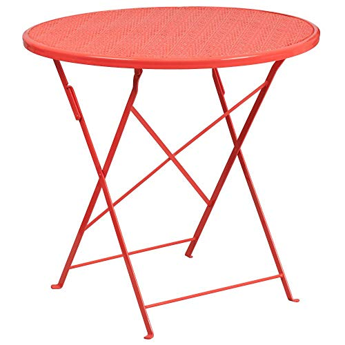 """Flash Furniture Commercial Grade 30"""" Round Coral Indoor-Outdoor Steel Folding Patio Table"""