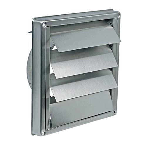 Europart 10028196 - Rejilla de ventilación universal para exterior (180 x 180 mm, 150 mm, acero inoxidable, con persiana, para campana extractora, aparato de aire acondicionado)