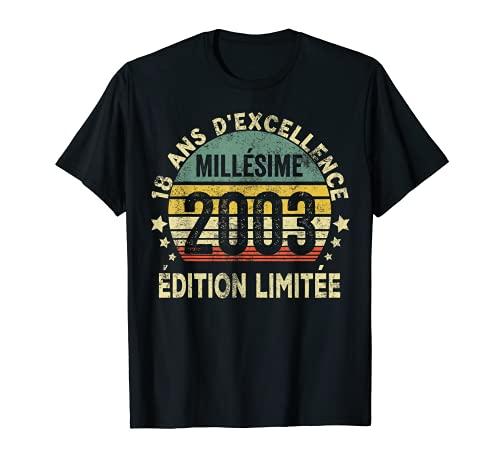 18 Ans Anniversaire Millésime 2003 Fabriqué En 2003 T-Shirt