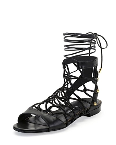 Tom Ford Leather Chain-Link Lace-Up Gladiator Sandals Shoes US 6 IT 36; Black