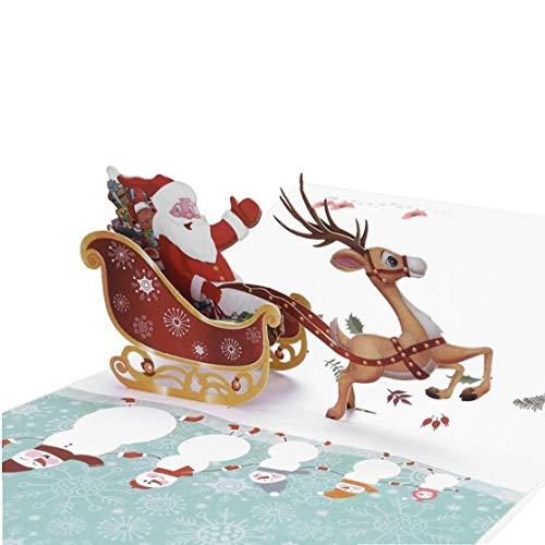 Case Cover Popup-grußkarten Für Weihnachten, 3D Handmade Christmas Santa Claus Und Rentier Wagen-Karten, Geschenke Für Freunde, Kinder, Und Liebhaber