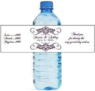 100 Elegant White Wedding Anniversary Engagement Party Water Bottle Labels 8
