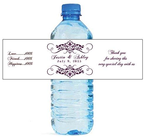 "100 Elegant White Wedding Anniversary Engagement Party Water Bottle Labels 8""x2"""