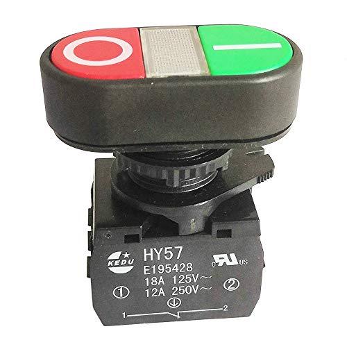 Kedu HY57 - Interruptor de botón pulsador mecánico autobloqueante para taladro magnético 12 A/250 V 1NO 1NC 4 bornes (HY57-A)