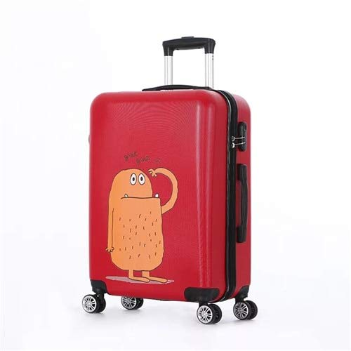 Mdsfe 20/24/28inch Cartoon pattern ABS+PC rolling luggage Simple women travel suitcasewomen carry on trolley bags on wheels-red,20'