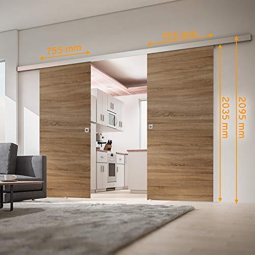 inova Doppel-Tür Holz-Schiebetür 2-Flügelig 1510 x 2035 mm Wildeiche Alu Komplettset mit Lauf-Schiene und Quadrat-Griff - 3