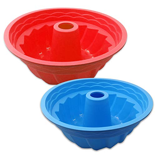 2 Pack Fluted Round Silicone Baking Molds, SENHAI Oven Roasting Non-Stick Cake Mousse Bread Pan - Red, Blue