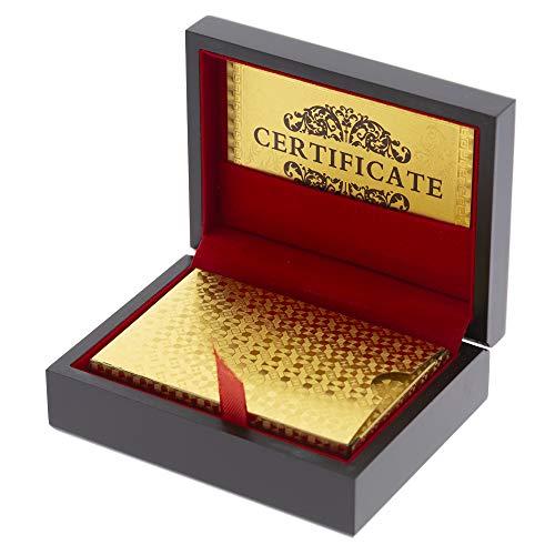 Trendcool Cartas Poker. Baraja Poker Juego de Mesa con Caja Madera. Baraja de Cartas Poker Impermeable. Baraja Poker Doradas, Oro. (Gold+Box)