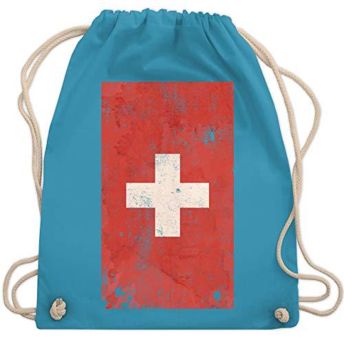 Shirtracer Fußball-Europameisterschaft 2021 Kinder - Schweiz Flagge Vintage - Unisize - Hellblau - schweizer flagge - WM110 - Turnbeutel und Stoffbeutel aus Baumwolle