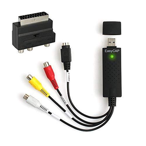 AUTOUTLET USB 2.0 Audio Video Grabber | inkl. Zubehörset Scart zu RCA/S-Video Adapter, RCA zu RCA Kabel | VHS - Videoadapter zur Bearbeitung Nachbearbeitung | für Windows 10/8/7/ Vista/XP