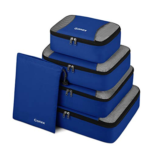 Gonex Packing Cubes 5 Set Travel Luggage Organizer with Shoe Bag (Deep Blue)