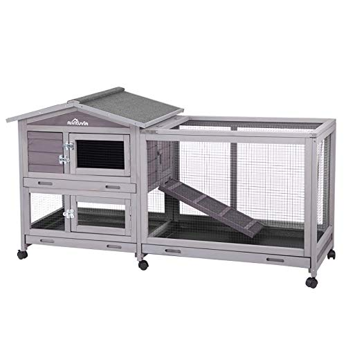 Aivituvin Rabbit Hutch Indoor and Outdoor 62' Bunny Cage on Wheels with 3 Deep No Leakage Pull Out Tray,Waterproof Roof...
