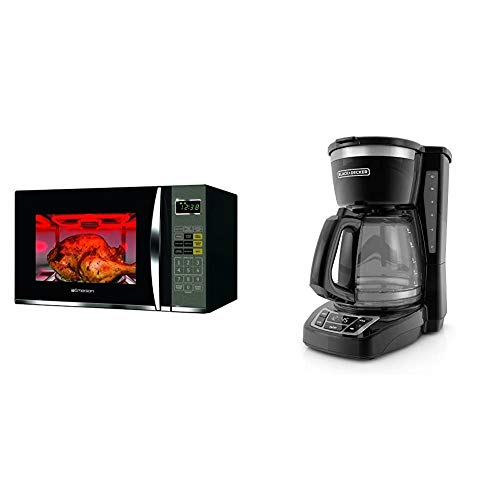 Emerson 1.2 CU. FT. 1100W Griller Microwave Oven with Touch Control, Stainless Steel, MWG9115SB & BLACK+DECKER 12-Cup Programmable Coffeemaker, Black, CM1160B