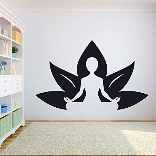 JXMK Lotus Posture Yoga Muursticker Home Gym Zwart Plastic Muursticker Glas Stickers Waterdicht Verwijderbaar Decoration PVC sticker