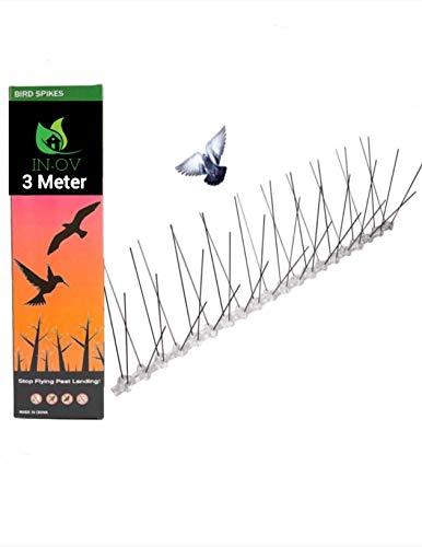 IN-OV - 3 Meter Edelstahl Taubenabwehr | Gut geeignet gegen Vögel Krähen, Schutz vor Vögeln | Vogel Spikes | Robuste Taubenspikes, Einfache Montage.