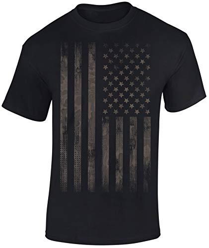 T-Shirt: Stars and Stripes - Camo Style - USA Flagge US-Army - Shirt Herren Damen - Mann Männer Frau-en - Biker - Rock-er - Amerika America - United States - Camouflage - Streetwear - Geschenk (XL)