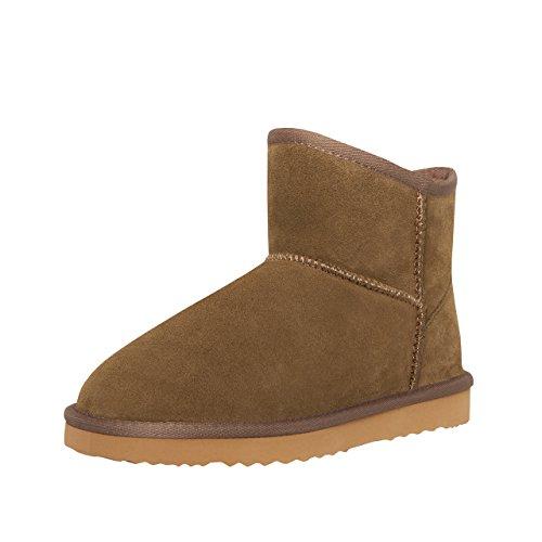 SKUTARI® Classic Boots, Wildlederstiefel mit kuscheligem Kunstfell, gemütliche Damen-Stiefel aus Leder, handgefertigt in Italien, Winterschuhe, Schlupfstiefel, Stiefeletten warm gefüttert(39 EU,Khaki)