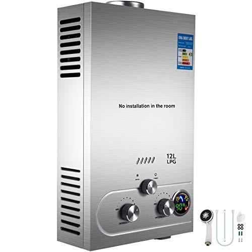 VEVOR 12L LPG Warmwasserbereiter Gas Propangas Durchlauferhitzer Warmwasserbereiter Boiler Warmwasserspeicher Tankless Instant mit LCD Display und Duschkopf
