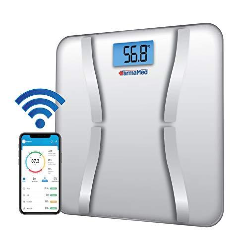 FARMAMED Bilancia Digitale Pesapersone Smart Bluetooth, iOS e Android, Misurazione della Composizione Corporea, Tecnologia Impedenziometrica BIA, Peso, Grasso Corporeo, Proteine e BMI