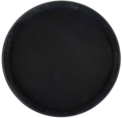 Winco TFG-14K Round Fiberglass Tray with Non-Slip Surface, 14-Inch, Black