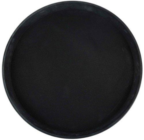 Winco Round Fiberglass Tray with Non-Slip Surface, 14-Inch, Black