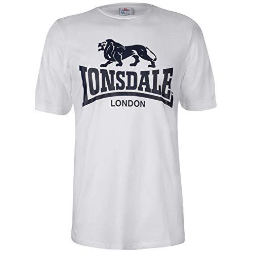 Lonsdale Herren T Shirt Großes Logo Rundhals Kurzarm Weiß 4XL