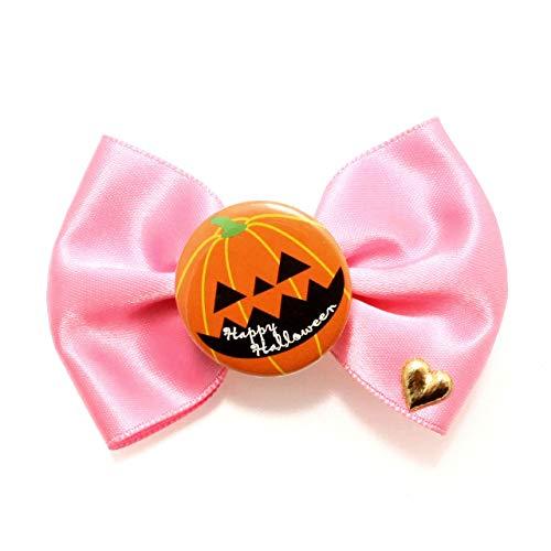 クリップ リボン ヘアクリップ ハロウィン ジャック 缶バッジ【H61-】 サテンリボン クリップヘアピン かぼちゃ カボチャ (ピンク)