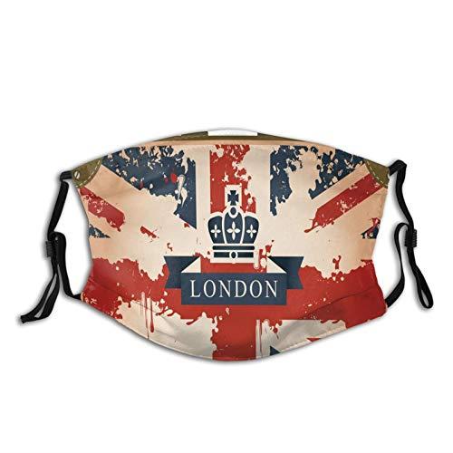 Comoda copertura antivento per il viso vintage valigia da viaggio con bandiera britannica Londra nastro e corona immagine, stampato decorazioni facciali per adulti
