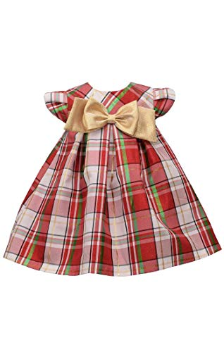 Bonnie Jean Baby Girl's Tartan Plaid Holiday Christmas Dress with Gold Bow (6-9 Months)