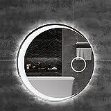 Tcbz Espejo LED Redondo para baño, Espejo de tocador, Espejo de Maquillaje Iluminado con Luces y Lupa, círculo, Luna, Espejo de Pared, Regulable, para baño, Entrada, Sala de Estar, Espejo de Toca