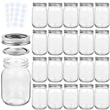 KAMOTA Mason Jars 12 oz With Regular Lids and Bands, Ideal for Jam, Honey, Wedding Favors, Shower Favors, Baby Foods, DIY Magnetic Spice Jars, 20 PACK, 30 Whiteboard Labels Included