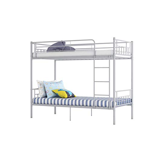 Panana Twin Over Twin Bunk Beds, Modern 3FT Single Metal Bed Frame Home Sleep For Kids/Adult Children Bed Frame With Stairs (Silver)