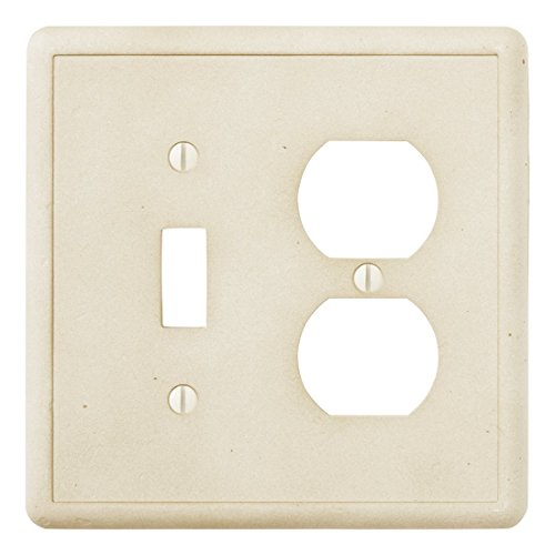 1 Toggle 1 Duplex Combination - Ivory Light Switch Cover Cast Stone Textured Decorative Outlet Cover