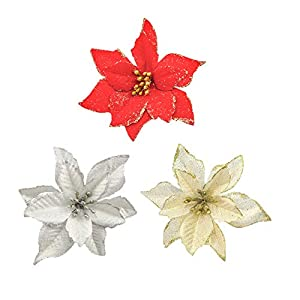 BBrand 12 Pack Artificial Christmas Flowers Decorations Xmas Tree Ornaments Poinsettia Flowers with Sticks Gold Glitter Artificial Christmas Flowers for Christmas Tree Wreaths Garland, 6 Inch