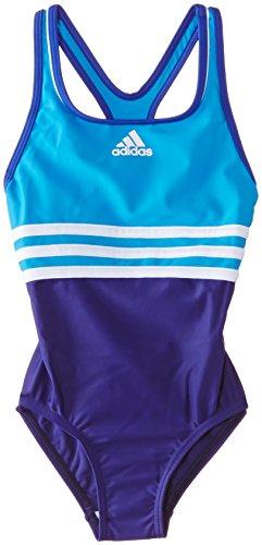 adidas Aqua Wear für Mädchen, klassischer, einteiliger Sport-Badeanzug 6 Jahre Solar Blue/Purple