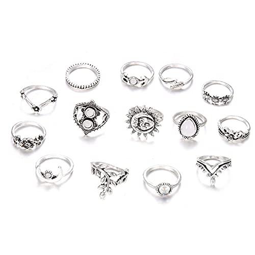 Lucky Meet 14 anillos de dedo vintage bohemios anillos nudillos plata cristal articulación nudillo anillo apilable conjunto Midi dedo anillo conjunto joyería regalo