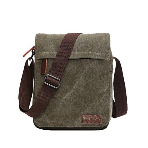 Umhängetasche, geeignet für Laptops (35,6 cm/ 14 Zoll), Bücher, Schule, Arbeit, aus Segeltuch, für Männer und Frauen, Herren, Green Small