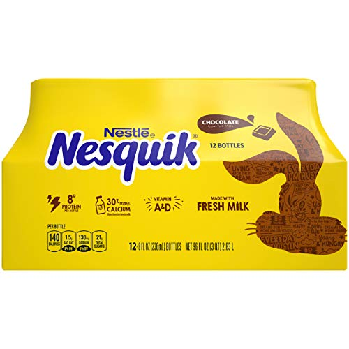 NESQUIK Low Fat Chocolate Milk, 8 fl. oz., Pack of 12 – Delicious and Convenient Ready to Drink Chocolate Milk in a Resealable Bottle, Good Source of Protein