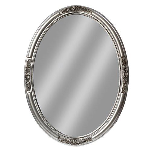Specchio da parete ovale, stile antico, in legno con decorazioni, stile rustico/barocco, adatto come specchio cosmetico o specchio per il bagno, Legno, argento, 47 x 57cm