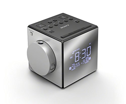 Sony ICF-C1PJ Alarm Clock with AM/FM Radio, Time Projection, Soothing Nature Sounds, Extendable Snooze, LED Display with Adjustable Brightness, USB Port and Built-in Calendar + Extra Batteries + Cable