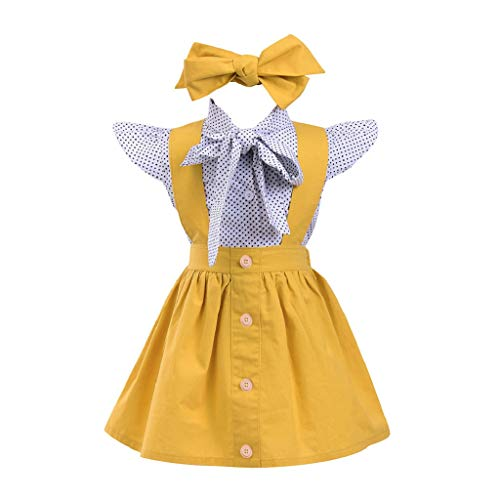 VJGOAL hoge kwaliteit 3 stuks kleine kinderen kleine kinderen baby meisjes dot print tops T-shirt strap rok outfits set