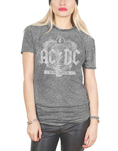 Ac/Dc T Shirt Black Ice Band Logo Official Womens Grey Junior Fit Burn Out Size 10